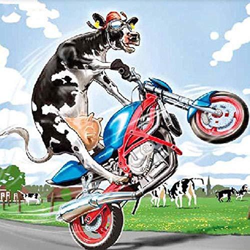 Wzjxzsynl Digitales Malen nach Zahlen-Kits Lustige Kuh, die EIN Motorrad reitet Dekoration für Zuhause Neue Unterkunft Hochzeit Geschenkfür Erwachsene Kinder Anfänger
