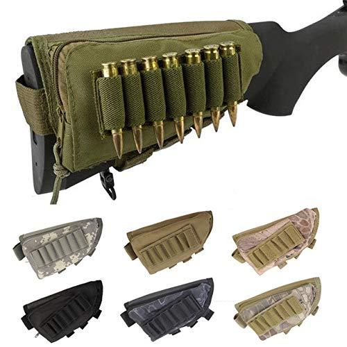 Gexgune Tactical Buttstock Reposo de mejillas Bolsa de munición Rifle de Escopeta Bolsa de munición Portátil Titular de Cartucho Combate Caza (Caqui)