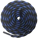 DELELE 2 Pair Round Wave Non Slip Outdoor Mountaineering Climbing Shoe Laces String Rope Blue&Black Hiking Shoelaces Men Women Shoestrings-55.12'