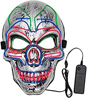 SODIAL Halloween Mask LED Light Up Scary Mask for Festival Cosplay Halloween Masquerade Costume Parties Silver