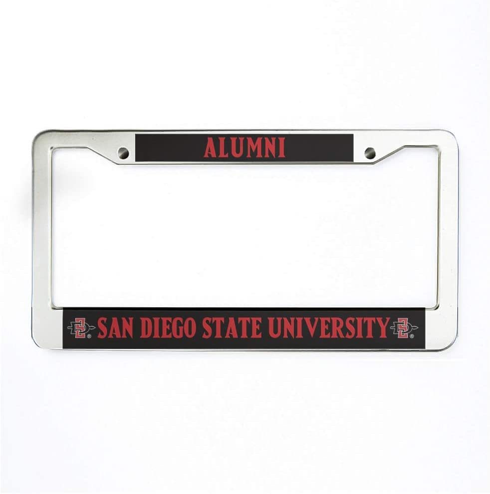 Alumni SAN Diego State University Car License Plate Frame Funny Aluminum License Plate Cover with Screws for US Vehicles