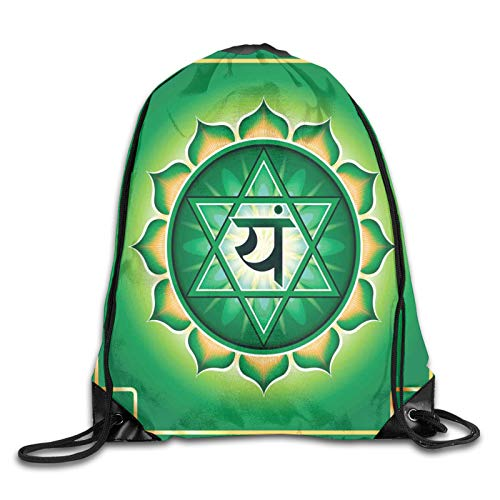 Drawstring Gym Bag Backpack,Anahata Symbol Stands For Love Healing Linked To Compassion,Rucksack for School Sports Travel Women Children Birthday Present