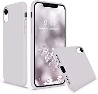Cozosun iPhone XR Case, Soft Liquid Silicone Slim Rubber Full Body Protective iPhone XR Case Cover (with Soft Microfiber Lining) Design for iPhone Xr-Lavender Gray