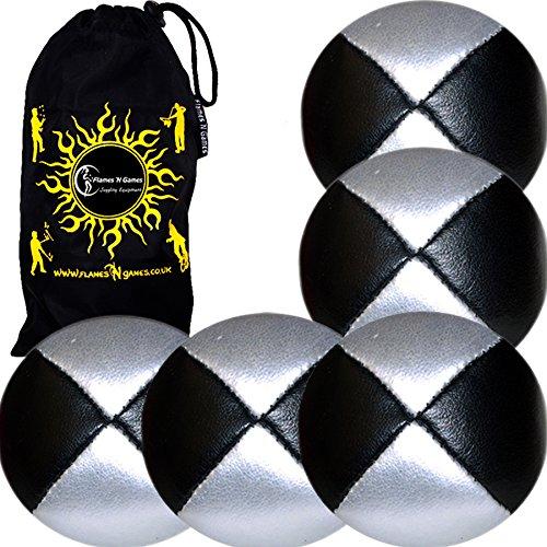 5X Balles de Jonglage Thud en Cuir Super Durable (Leather) 5X Pro Jonglerie Beanbag Jonglage Balles + Sac de Voyage. (Noir/Argent)