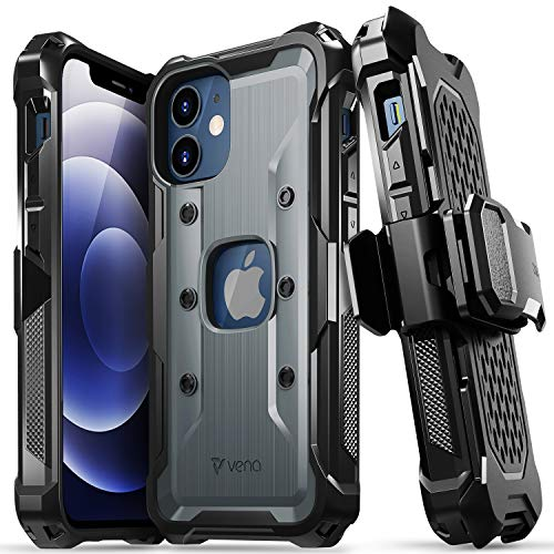"""Vena vArmor Rugged Case Compatible with Apple iPhone 12 Mini (5.4""""-inch), (Military Grade Drop Protection) Heavy Duty Holster Belt Clip Cover with Kickstand - Space Gray"""