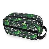 QMIN Bolsa de aseo portátil con diseño de dinosaurios, animales, cráneos, huesos de viaje, multifunción, bolsa de maquillaje, bolsa de almacenamiento para niños, niñas, mujeres y hombres