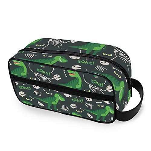 QMIN Bolsa de aseo portátil con diseño de dinosaurio, diseño de calavera de animales, bolsa de viaje, multifunción, bolsa de maquillaje, bolsa de almacenamiento para niños, niñas, mujeres y ho