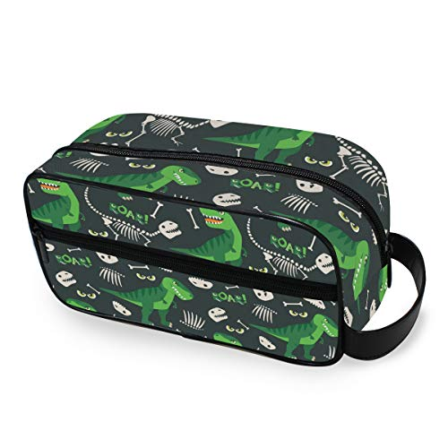 QMIN Bolsa de aseo portátil con diseño de dinosaurio, dise