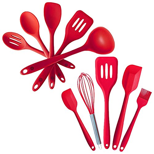 """StarPack Value Bundle 0028-5-Pc Silicone Kitchen Utensils (10.6"""") and 5-Pc Silicone Baking Utensils (10.6"""") - Cherry Red"""