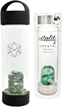 Lifestyle Products, Glass Water Bottle, Natural Emerald and Quartz Crystals, Includes Protective Neoprene Sleeve - Vitality