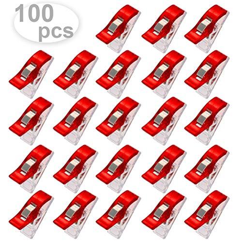 100 stuks/doos wit rood kunststof naairandclip, knutselnaaiclips voor het quilten, multifunctioneel naaiaccessoire naaien van kunststofclips