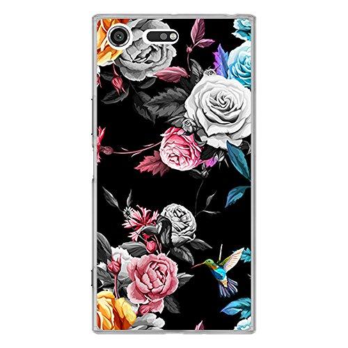 BJJ SHOP Transparente Hülle für [ Sony Xperia XZ Premium ], Flexible Silikonhülle, Design: Schwarzer Hintergr& der bunten Rosen
