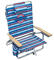 Customizable beach chair: easily adjusts to 5 seating positions, including a lay flat option, providing you with customized seating and relaxation Unique and functional: features a towel bar on the back of the beach chair and an insulated cup holder ...