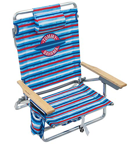 Tommy Bahama 5-Position Classic Lay Flat Folding Backpack Beach Chair, Red, White, and Blue Stripe
