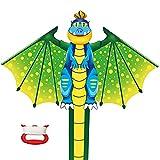 YongnKids Flying Toy Kites - Cometa para niños Adultos Que juegan al Aire Libre en Beach Park - Cuerdas de 100 Metros con Mango fácil de Volar, Gran Regalo para niños y niñas (Dinosaurio)