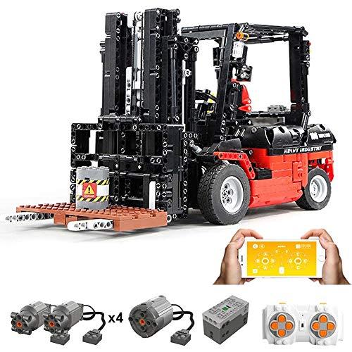 Yiyu Technik Bausteine Gabelstapler, 1719Teile 1:10 2.4G Ferngesteuert Gabelstapler Mit Motor Bausteine Konstruktionsspielzeug Kompatibel Mit Lego Technic x (Color : Orange)