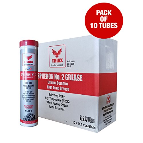 Triax Wheel Bearing Grease SPHERON HT-2 Lithium Complex - HIGH Temp (550F) - Ultra Tacky - Extreme Pressure - VIRTUALLY Waterproof (14 oz Tube - Pack of 10)