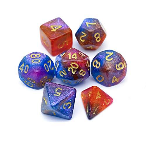 DAILUMI Set di Dadi poliedrici 7 Pezzi, Dadi Blu Lucido DND alla rinfusa Ottimo per Dungeons And Dragons DND Rpg Giochi da Tavolo MTG