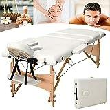 Mesas de masaje ajustable sofá de belleza cama para tatuaje terapia de belleza facial masaje SPA, ligero plegable cama de spa facial con bolsa de transporte de madera 3 secciones (beige)