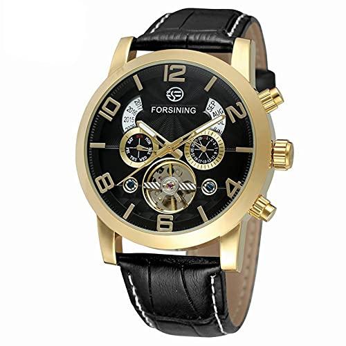 Excellent Relojes para Hombre Strap de Cuero mecánico Gypsophila Tourbillon Relojes automáticos de Pulsera para Hombres Mens Skeleton Mecánico Mecánico Reloj,A09