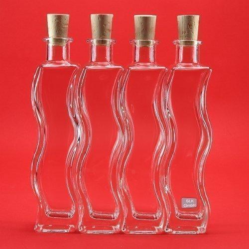 slkfactory, 6Bottiglie di Vetro da 200ML, a Forma di Onda, per liquori, aceto, Olio