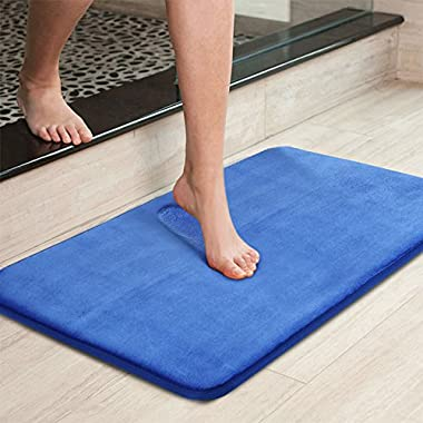 Uphome Memory Foam Bath Rug Anti Slip Royal Blue Plain Ultra Soft and Absorbant Bathroom Shower Mat, Mashable Washable, 16''W X 24''L