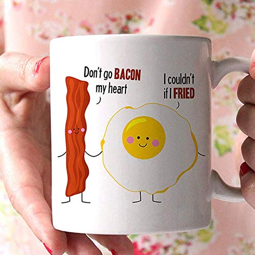 HUANGHHLL No IR con Tocino Mi Corazón No Pude Hacer Cuando I Taza De Café Linda del Desayuno Taza De Café De Cerámica Apta para Microondas Y Lavavajillas