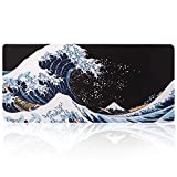 iLeadon Extended Gaming Mouse Pad - Non-Slip Water-Resistant Rubber Base Computer Keyboard Mouse Mat, 35.1 x 15.75-inch 2.5mm Thick XX-Large, Ideal Partner for Work & Game, Sea Wave