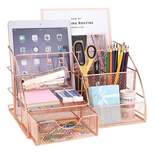 LEORISO Organizador de escritorio, organizador de oficina con bandeja para cartas, soporte para bolígrafos, organizador de documentos y cajón, de metal, para oficina, escuela y hogar, oro rosa, grande