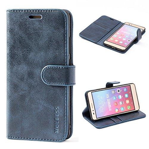 Mulbess Handyhülle für Huawei Honor 5X Hülle Leder, Honor 5X Handytasche, Vintage Flip Schutzhülle für Huawei Honor 5X Hülle, Navy Blau