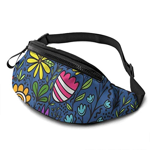 XCNGG Bolso de cintura corriente bolso de cintura de ocio bolso de cintura bolso de cintura de moda Tropical Blue Floral Flower Waist Pack Bag for Men Women,Casual Fanny Packs with Headphone Socket Hi