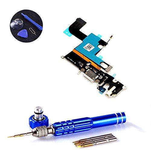 PPdigi Dock Connector für iPhone 6 USB Ladebuchse Audio buchse Mikrofon mit Werkzeugset (Passen iPhone 6, Gold/Silber)