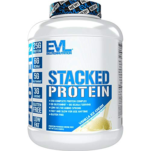 Evlution Nutrition Stacked Protein Protein Powder with 25 Grams of Protein, 6 Grams of BCAAs and 5 Grams of Glutamine (Vanilla Ice Cream, 5 LB)