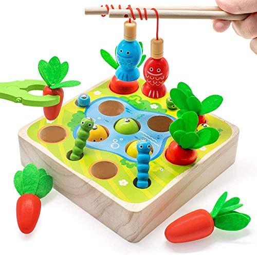 Felly Holzspielzeug ab 1Jahr Baby Motorik Spielzeug Montessori Sortierspiel Holzpuzzle Karottenernte Angelspiel Lernspielzeug für Kinder als Geburtztag Geschenk ab 1 2 3 4 Jahr Jungen und Mädchen