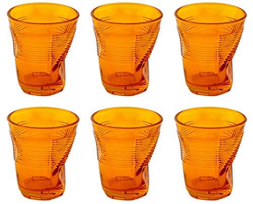 Kaleidos Set 6 Bicchieri Accartocciati 22 cl Ø8 cm in Vetro Pressato Arancioni
