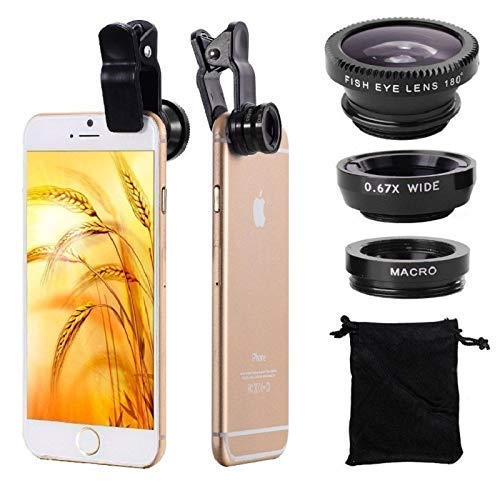 Lowfe Universal Fisheye Lenses Fish Eye Wide Angle 3 in 1 Mobile Phone Lens Camera Kit for Mobile Phones