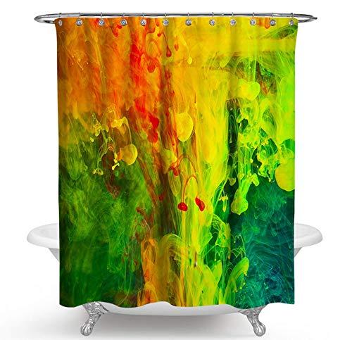 JOVEGSRVA Graffiti Gelbgrün Duschvorhänge Wasserdicht Badvorhänge Trennvorhang Formsicherer Badvorhang Mit 12 Haken 180 X 200 cm