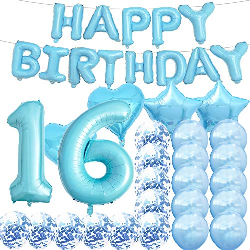 Sweet 16th Birthday Decorations Party Supplies,Blue Number 16 Balloons,16th Foil Mylar Balloons Latex Balloon Decoration,Great 16th Birthday Gifts for Girls,Women,Men,Photo Props