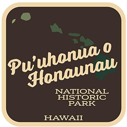 JMM Industries Pu'uhonua O Honaunau National Historic Park Hawaii vinilo calcomanía retro vintage look 2 unidades 4 pulgadas por 4 pulgadas Premium calidad UV laminado protector laminado SPS266
