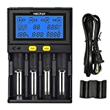 LGIDTECH MiBOXER 18650 Battery Charger 4 Slot with Car Charging Port LCD Display for AA AAA C 26650 16340 18500 18350 17670 RCR123 Li-ion/IMR/INR/ICR/Ni-MH/Ni-Cd/LiFePO4 Rechargeable Batteries