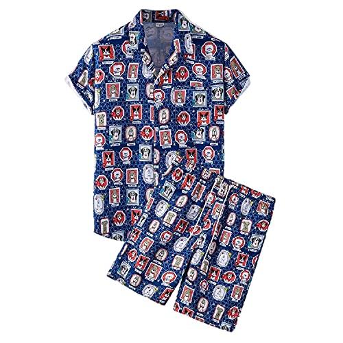 Shirts Pantalones Cortos Hombres Verano con Cuello En V Transpirable Hombres Shirt Botón Transpirable Bolsillos Cordones Hombres Conjunto Tendencia Moda Hombres Conjunto De Playa TZ82 XL