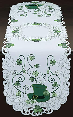 Creative Linens St. Patrick's Day Table Linens, Spring Embroidered Shamrocks Irish Clovers and Leprechaun Hats Placemats, Table Runners, Tablecloths, White Green (15x52 Oval Table Runner)