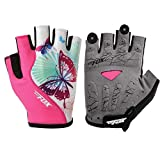 DuShow Cycling Gloves Women Half Finger Gel Padded Bike Gloves Anti-Slip Shock-Absorbing Fingerless Bicycle Short Gloves(Pink,S)