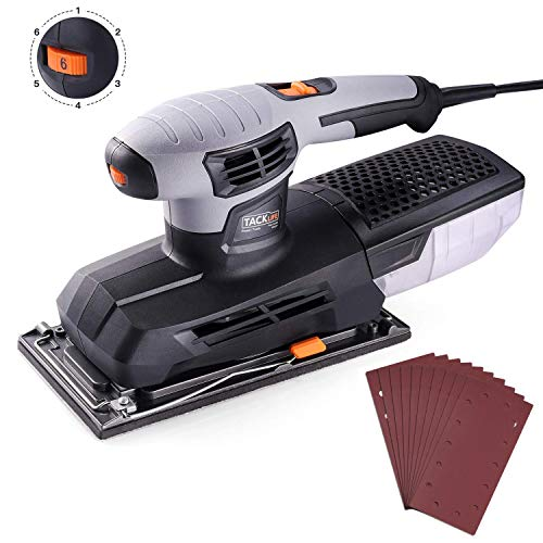 TACKLIFE Sheet Sander, Larger Aluminum Sanding Base (9x4.5Inch), 6 Variable Speeds,12,000 Opm 1/2 Sheet Orbital Sander,10Pcs Sanding Sheets, Hook and Loop Pad, Quick Locking System PSS02A