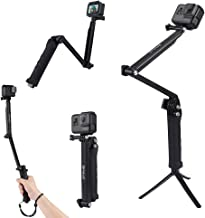Briday 3-Way Selfie Stick Tripod Multi-Functional Camera Tripod Handle Grip Foldable Pole Extension Arm for GoPro New Hero /HERO7 /6/5 /4/3+ /3/2 /1, DJI Osmo Action, Xiaoyi and Other Action Camera