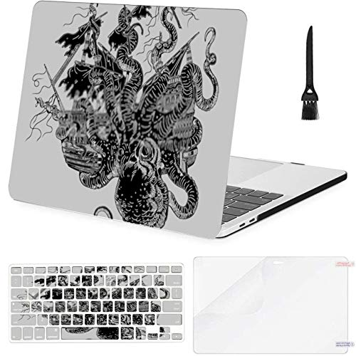Macbook Air 13' (2010-2017),A1369 A1466 Case,Plastic Giant Octopus Attacks Ship Gigantic Mollusk Hard Shell Case With Keyboard Cover & Screen Protector & Cleaning Brush