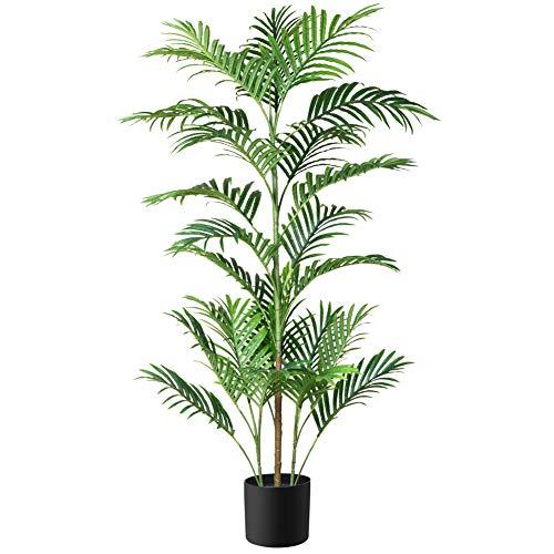 Fopamtri Planta Artificial Decorativas Palma de Areca Tropical Palmera Artificial Altura 130cm para Hogar Baño Oficina Jardín Boda Planta Falsa Decoración(1PACK)
