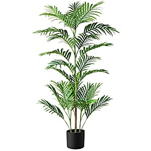 Silk Flower Arrangements Fopamtri Fake Majesty Palm Plant 4.3 Feet Artificial Majestic Palm Tree Faux Ravenea Rivularis in Pot for Indoor Outdoor Home Office Store, Great Housewarming Gift