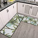 Kitchen Mats Cushioned Anti Fatigue 2 Piece Set Beautiful Summer Palm Trees Kitchen Rugs, Floor Mats Carpet, Hallway Runner Rug, Standing Desk Mat, Sink Accessories Decorations