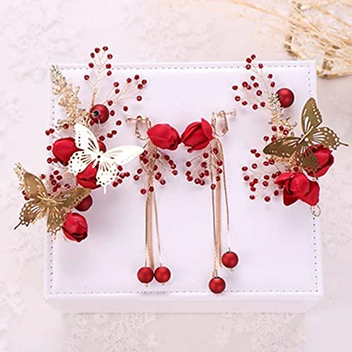 Chinese Retro Butterfly Jewelry 2021new shipping free Red Color OFFicial Headbands Beaded Gold
